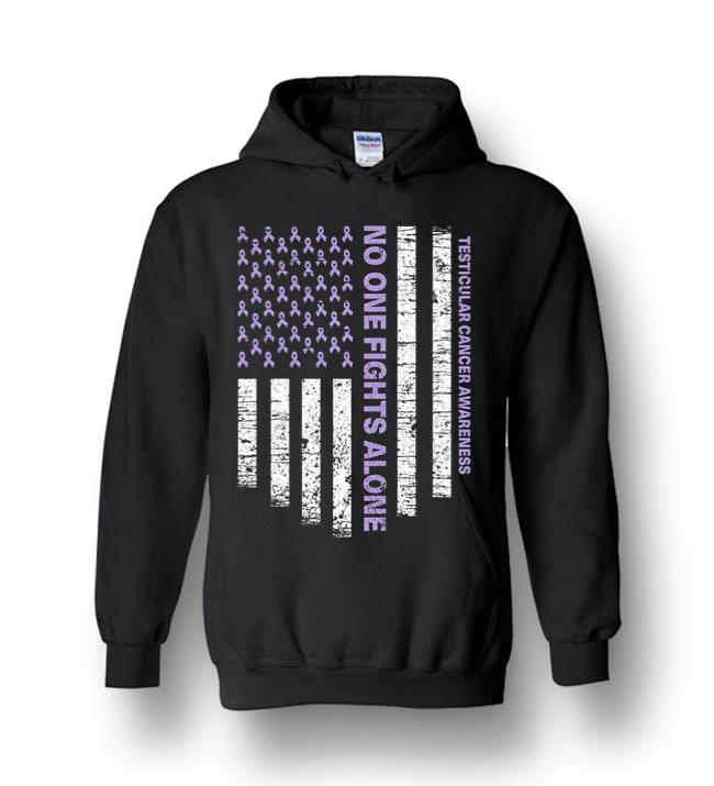 No One Fights Alone Usa Flag Testicular Cancer Awareness Heavy Blend Hoodie