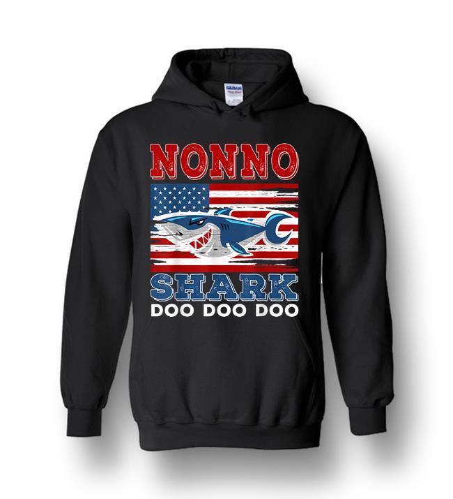 Nonno Shark Doo Doo Doo American Flag Heavy Blend Hoodie